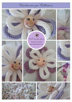 Bomboniere realizzate a mano con la tecnica del tricotin. Le posso realizzare in qualsiasi variante di colore. Spool Knitting, Textiles, Confetti, Crochet Necklace, Creations, Crochet Hats, Teddy Bear, Dolls, Christmas