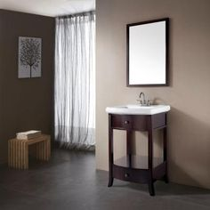 Pegasus Parisian 24-1/2 in. Birch Vanity in Espresso with Vitreous China Vanity Top in White with White Basin-3017-VS24 - The Home Depot