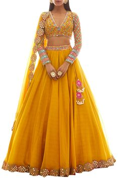 Yellow embroidered lehenga set by Vani Vats available on Carmaonline shop Party Wear Indian Dresses, Designer Party Wear Dresses, Indian Gowns Dresses, Indian Bridal Outfits, Party Wear Lehenga, Indian Bridal Fashion, Indian Fashion Dresses, Dress Indian Style, Indian Designer Outfits