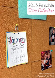 2015 Printable Mini Calendar with a different motivational message for each month! bydawnnicole.com