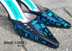 Custom Hand Painted Mules.  Geometric Pattern Painted Shoes.  You Choose The Colours.  I Paint Your Shoes!  #blueshoes #geometric #IWannaWearBrave