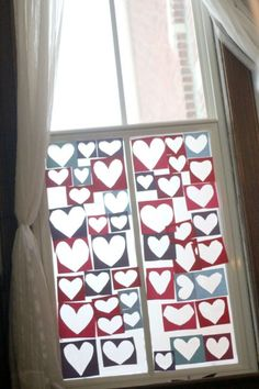 A heart collage for kids to make on the window (hands on: as we grow)