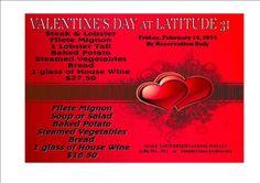 Febrero 14: Cena de San Valentín en el Restaurante Latitude 31 (Llama para hacer tu reservacion)