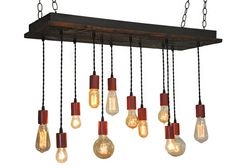 Reclaimed Red Farmhouse Style Rustic Chandelier With Edison Style Bulb Pendants - READY TO SHIP