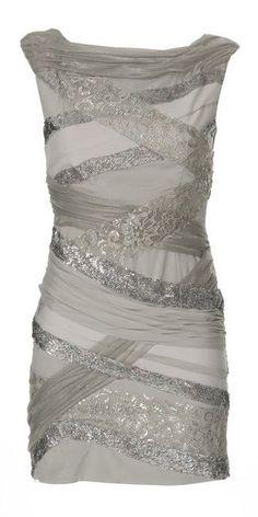 Silver / Grey lace / chiffon dress