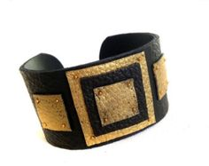 40% OFF Sale Leather wide black cuff bracelet by julishland