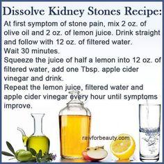 Recipe to dissolve kidney stones.