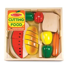 """Now that your kids have watched you prepare all the food for the holiday festivities, they're going to want to try their hands at it. TheCutting Food Box from Melissa & Doug provides a safe way to do that, includingbread, carrots, apples, and other healthy picks,segregated into slices by Velcro.The knife even makes a satisfying """"thwack"""" as it hits the cutting board and lets children build dexterity while indulging in an activity that's usually off limits."""