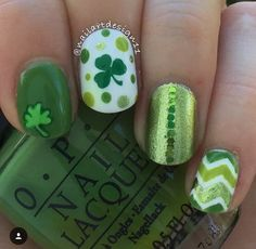 St. Patrick's Day mani from @nailartdesign11 (IG) using our Clover Nail Decals. Found at: snailvinyls.com