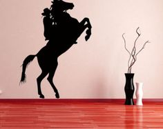 Cowboy on Raring, Jumping Horse  - Vinyl, Decal, Sticker, Home, Wall, Ranch, Bedroom Decor