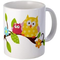 Mod Pink and Yellow Owls Ceramic Coffee Mug by Art by Jess, http://www.amazon.com/dp/B005DOMXFI/ref=cm_sw_r_pi_dp_oapBqb0KZ1E1X