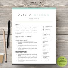 Modern Resume Template - Profilia Resume Boutique on Etsy! www.profilia.ca #resume #resumetemplate #modernresume