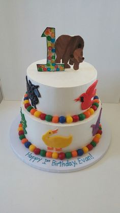 Brown bear 1st birthday cake