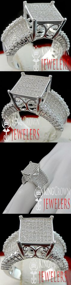 Diamond 67726: Wedding Ring Ladies 10K White Gold Silver Simu Diamond Engagement Bridal Band -> BUY IT NOW ONLY: $89.99 on eBay!