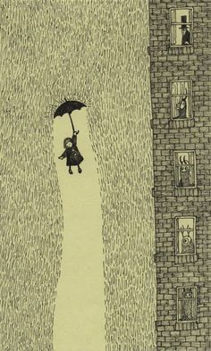 And the rain fell down. I love this illustration by Don Kenn. So charming. Art Inspo, Arte Black, Kunstjournal Inspiration, Edward Gorey, Children's Book Illustration, Monster Illustration, Art Illustrations, Grafik Design, Art Design