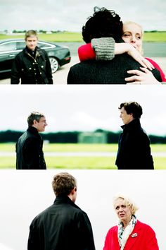 """Look after him."" / ""Don't worry. I'll keep him in trouble."" / ""That's my girl."""
