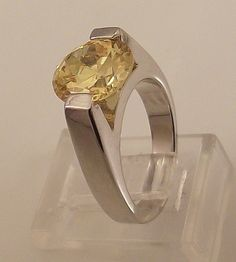 Ladies Russian Formula Golden Topaz CZ Silver Ring-Size 4-Free Gift Box