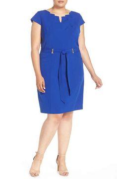Ellen Tracy Belted Cap Sleeve Sheath Dress (Plus Size)