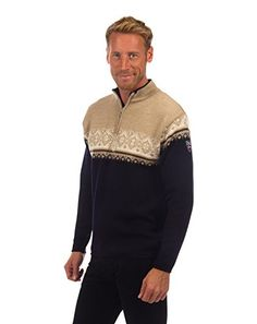 Dale of Norway Men's St. Moritz Masculine Sweater, Navy/Beige/Bronze Mel/Off White, Large