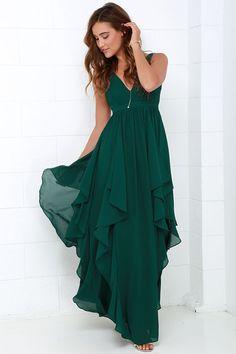 Chic Deep V -Neck Prom Dress,Flouncing Evening Dress,Chiffon Party Dress,Chiffon Prom Dress Stylish Dresses, Cute Dresses, Beautiful Dresses, Chiffon Dress Long, Chiffon Evening Dresses, Ruffle Dress, Green Maxi, Green Dress, Dark Green Long Dress
