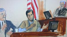 This courtroom sketch shows Turkish-Iranian gold trader Reza Zarrab, center, testifiying Wednesday in US District Court in New York.