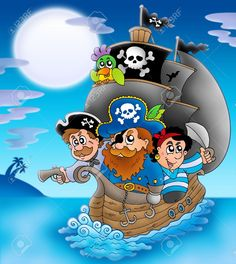 Illustration about Sailboat with cartoon pirates at night - color illustration. Illustration of design, anchor, night - 13275292 Monogram Alphabet, Alphabet And Numbers, Pirate Birthday, Pirate Party, Coloring Books, Coloring Pages, Pirate Treasure, Clip Art, Illustrations