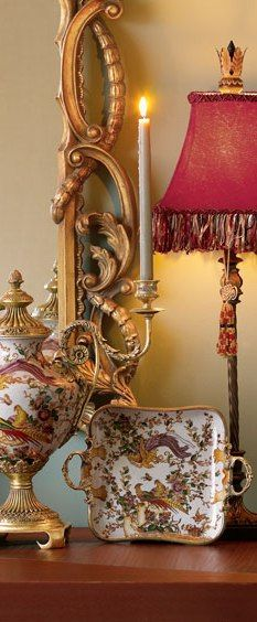 Mirror, porcelains, candle sconce
