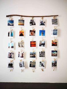 A wooden branch for hanging Polaroids, a decorative DIY canon! - P H O T O - Deco Home Photo Polaroid, Polaroid Wall, Polaroid Display, Polaroid Crafts, Polaroid Pictures Display, Hang Pictures, Instax Wall, Hanging Polaroids, Hanging Photos