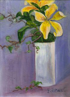 9x12 Two Yellow Lilies White Vase Still Life Acrylic Original SFA Penny StewArt