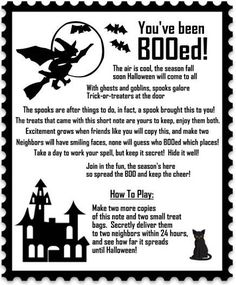 It's Written on the Wall: {16 Versions} You've Been BOOed! Fun Treats for the Neighborhood!  Great idea for neighborhood. Halloween Games, Halloween Boo, Halloween Treats, Happy Halloween, Holidays Halloween, Halloween Costumes, Halloween Decorations, Halloween Poems For Kids, Fall Decorations