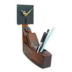Desk Tidy-Plane Sailing-Desk Clock-Geeky-Vintage-Upcycled