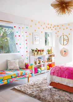 2017 Modernism Week Showhouse This colorful guest retreat exudes happiness thanks to a vibrant daybed pom-pom draperies and the gold-dot decals. Photo: Victoria Pearson / Design: Joy Cho The post 2017 Modernism Week Showhouse appeared first on Design Diy. Baby Bedroom, Home Decor Bedroom, Bedroom Curtains, Bedroom Furniture, Unique Furniture, Nursery Room, Bedroom Wall, Girl Nursery, Girl Curtains