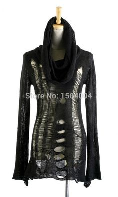 womens punk rave gothic rock fashion black shirt top streampunk pullover knit sweater Alternative Measures