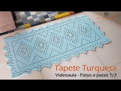 Tapete Turquesa - Passo a passo 1/3 - YouTube Filet Crochet, Crochet Motif, Crochet Baby, Crochet Top, Crochet Patterns, Crochet Table Mat, Crochet Videos, Kilim Rugs, Doilies