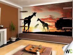 To always have a view of the Serengeti...these silhouette giraffes make a good wall mural for a relaxing living room.