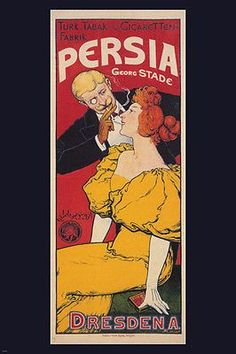PERSIA VINTAGE AD POSTER josef goller germany 1893 24X36 prized VALUABLE