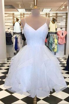 V Neck Short White Prom Dresses, Short White Homecoming Dresses, Graduation Dresses, Formal Dresses Dama Dresses, Hoco Dresses, Quinceanera Dresses, Sexy Dresses, Beautiful Dresses, Evening Dresses, Formal Dresses, Elegant Dresses, Dress Prom