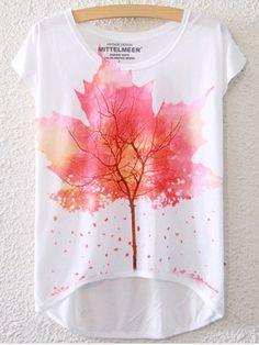 Simple Style Women's Maple Leaf Pattern Short Sleeve T-Shirt