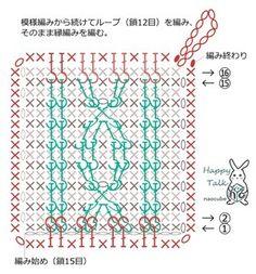 ◆アラン模様風のアクリルたわし(小) 編み図の通りに編みます。 ※作り方の画像は、資料のPDFファイル内の編み図と同じです。 Crochet Potholders, Crochet Blocks, Crochet Borders, Crochet Stitches Patterns, Crochet Chart, Crochet Squares, Crochet Motif, Crochet Doilies, Stitch Patterns
