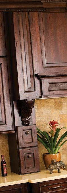 West Indies Inspired Design Collection, Dark Woods Are Used For the Cabinets and Door Styles - Dura Supreme Cabinetry