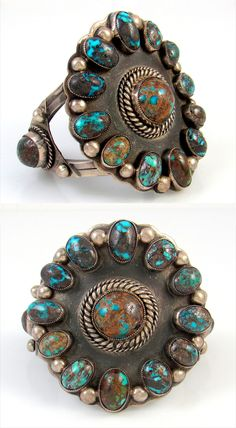Vintage Cuff   Unknown Navajo artist.  Sterling silver and Bisbee turquoise.