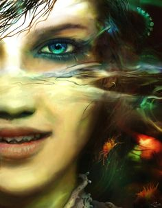 Mermaid, artist u/k. I love the sharp pointy teeth and the predatory gleam in her eyes.