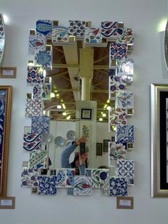 Çini ayna China Painting, Ceramic Painting, Tile Art, Mosaic Art, Home Decor Furniture, Home Decor Items, Decoration, Art Decor, Ideas Prácticas