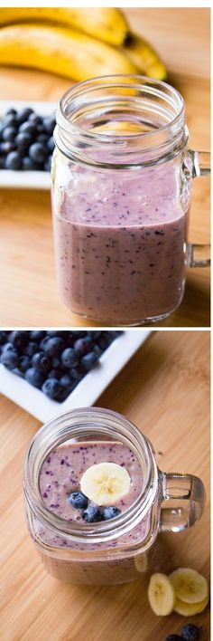 Blueberry Banana Smoothie! Thick & creamy, tastes delicious & totally healthy - have this smoothie for an on-the-go breakfast or healthy snack!