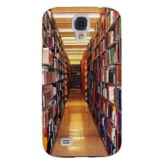 Library Shelves Galaxy S4 Case ~ This Samsung Galaxy S4 case takes you on a walk down a long aisle of books in the stacks of a huge library. The bright lighting reveals book spines in a kaleidoscope of colors.