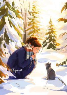 Girly Drawings, Art Drawings Sketches, Alone Art, Cartoon Girl Drawing, Cartoon Art Styles, Winter Art, Art And Illustration, Illustrations, Anime Art Girl