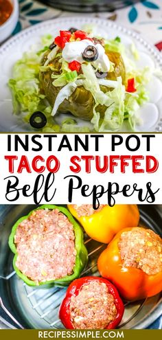 Serve these Instant Pot Taco Stuffed Bell Peppers for a delicious easy dinner. Mexican spices and ground beef stuffed into bell peppers and topped with cheese. Best Instant Pot Recipe, Instant Pot Dinner Recipes, Easy Dinner Recipes, Easy Chicken Recipes, Beef Recipes, Healthy Recipes, Delicious Recipes, Yummy Food, Easy Dinners For Two