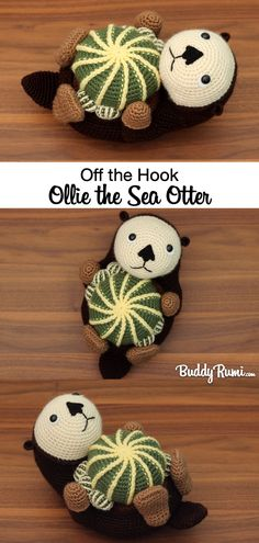 This sweet buddy likes to drift in the current holding on to his cacti collection and showing it off to all his sea otter buddies! Click the picture above to learn more about Ollie. Crochet Fish, Crochet Dolls, Crochet Hats, Plush Animals, Crochet Animals, Fun Projects, Crochet Projects, Sweet Guys, Knitted Flowers
