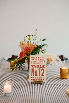 orange + white cards as table numbers, photo by Sweet Little Photographs http://ruffledblog.com/modern-palm-springs-wedding #tablenumbers #weddingideas