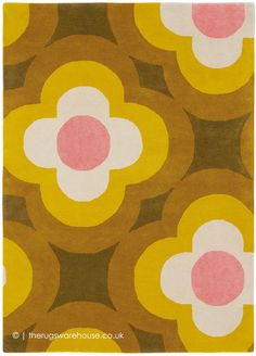 Pulse Rugs 60306 in Yellow by Orla Kiely buy online from the rug seller uk Orla Kiely, Motif Vintage, Tapis Design, Sunflower Design, Classic Rugs, Yellow Rug, Signature Design, Modern Rugs, Repeating Patterns